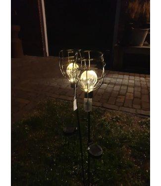 *J315 - solarlamp tuinsteker ilja zwart - 11,50 x 90 cm - per stuk