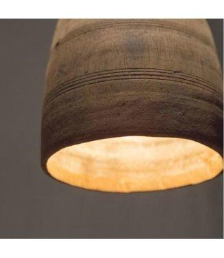 *A027 - Hanglamp - nepalese houten kruik - ca. 15 x 15 x 22 cm