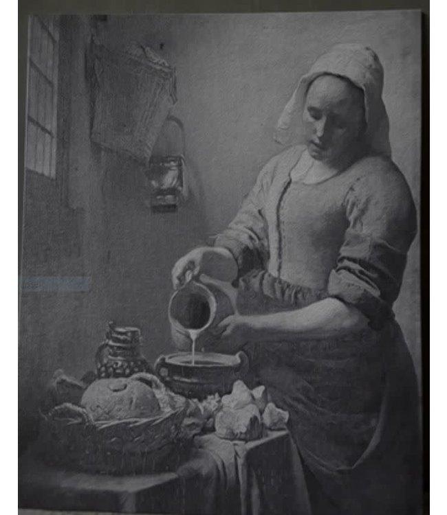 # Schilderspaneel melkmeisje grijs