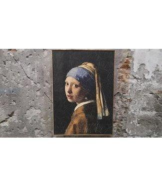 *B641 - Doek in houten lijst - meisje met de parel - 51 x 71 cm