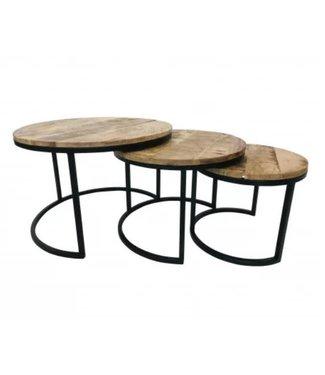 *J630 - Tafelset - 3 tafels - mangohout - zwart metalen frame