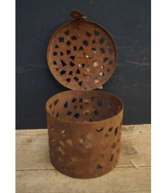 *J653 - Decoratief blikje - metaal - 14,5 x 14,5 x 10 cm