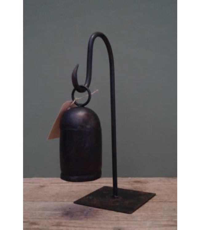 # B063 - Metalen bel op stander - 11 x 11 x 30 cm