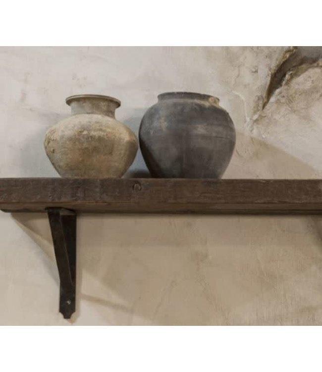 *I174 - Robuuste wandplank oud hout incl. 2 smeedijzeren planksteunen - 80 x 20 x 4 cm