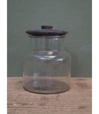 *A114 - Voorraadpot glas met houten deksel - 13,5 x 13,5 x 19 cm
