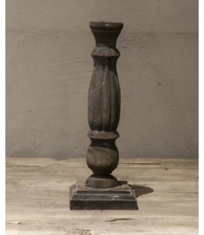 # I644 - kandelaar - hout - 10 x 10 x 29 cm