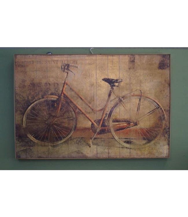 # B335 - wandkleed in houten lijst - 121 x 4 x 80 cm - alleen afhalen/wordt niet verzonden