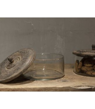 *J142 - Stoere koektrommel - glas met houten deksel - 21 x 15 cm per stuk