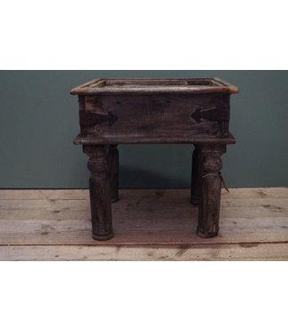Oud houten bijzettafeltje - 3 - 43 x 43 x 45 cm