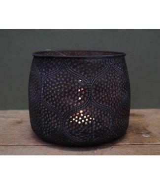 *J857 - Waxinelichthouder - metaal - 15 x 12 cm