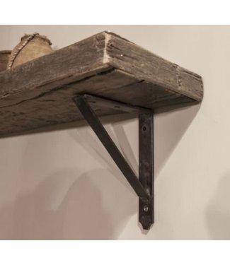 *B291 - Robuuste wandplank oud hout incl. 2 smeedijzeren planksteunen - 100 x 20 x 5 cm - worden niet verzonden/alleen ophalen
