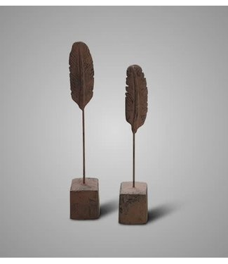 SET OF 2 BRYNXZ FEATHER ANCIENT BROWN D.7 H.46 - 40