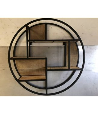 *J745 - Zwart metalen wandrek cirkel - 80 cm