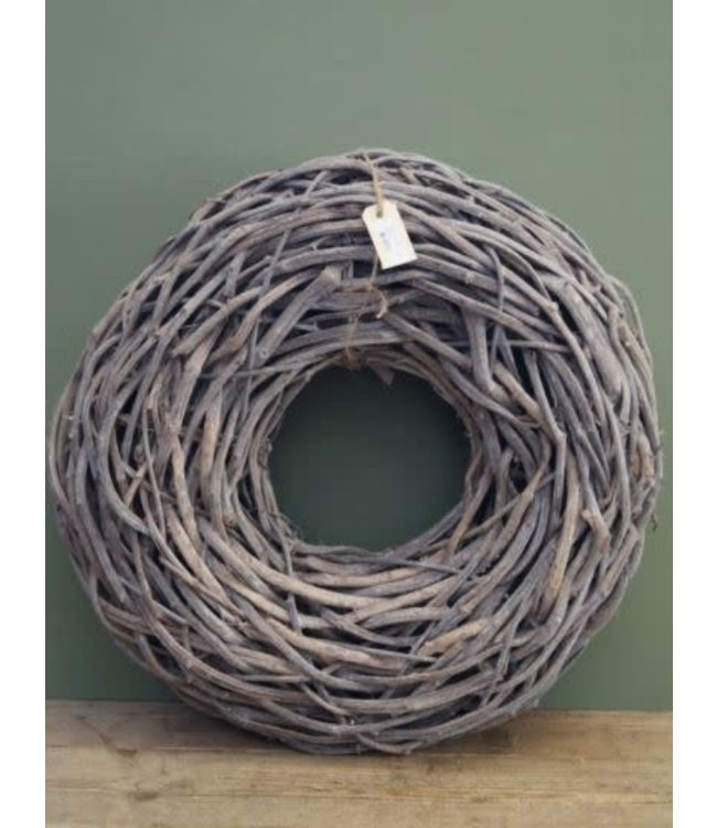 "A000 - Krans ""crazyvine"" - wit grijs - diameter 65 cm"