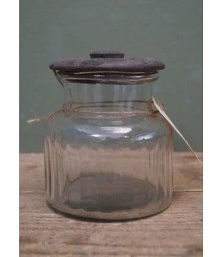 *J829 - Voorraadpot glas met houten deksel - 12 x 12 x 14 cm
