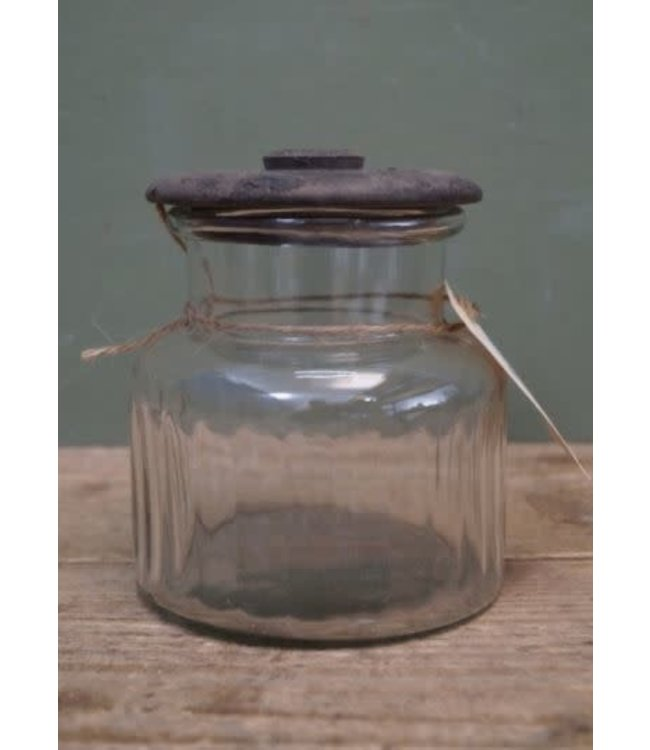# J829 - Voorraadpot glas met houten deksel - 12 x 12 x 14 cm