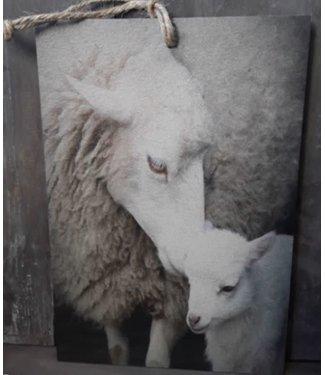 *J683 - Decobordje - schaap met lam - hout aan touw - 15 x 1 x 21 cm