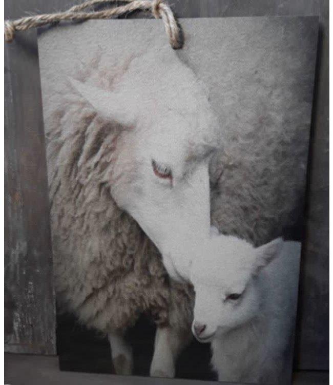 # J683 - Decobordje - schaap met lam - hout aan touw - 15 x 1 x 21 cm