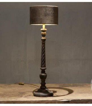 *Tafellamp Lyon | incl. kap velours bruin - 20 x 20 x 64 cm