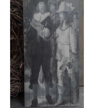 *A057 - afbeelding op hout - nachtwacht - 15 x 30 cm