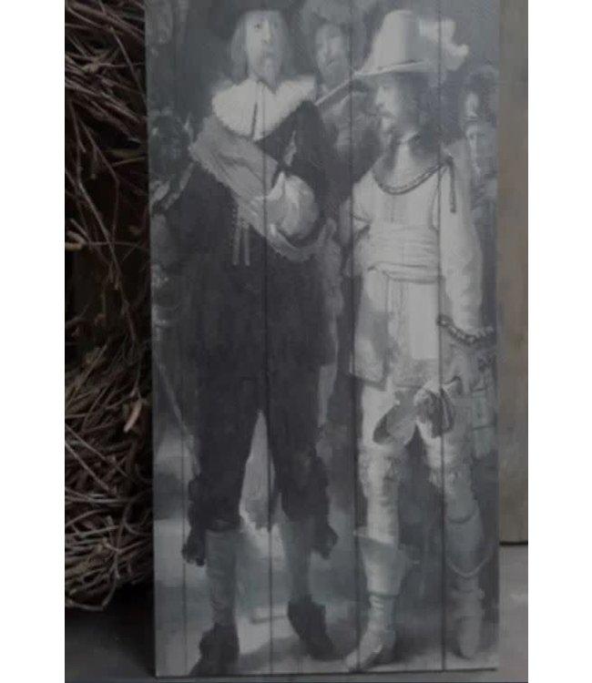 ## A057 - afbeelding op hout - nachtwacht - 15 x 30 cm