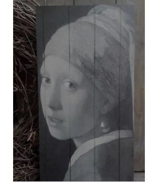 *A060 - afbeelding op hout - meisje met de parel - 15 x 30 cm
