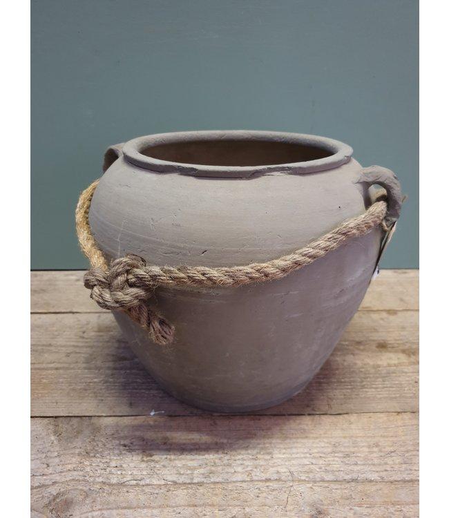 # Oude stenen pot met touw - medium - 1 - 34 x 34 x 37 cm