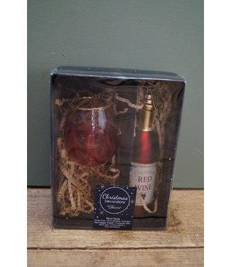 Tijdelijk uitverkocht - leverbaar 3e week oktber*Wijnfiguur glas kadoset - red wine - 11 x 16 cm