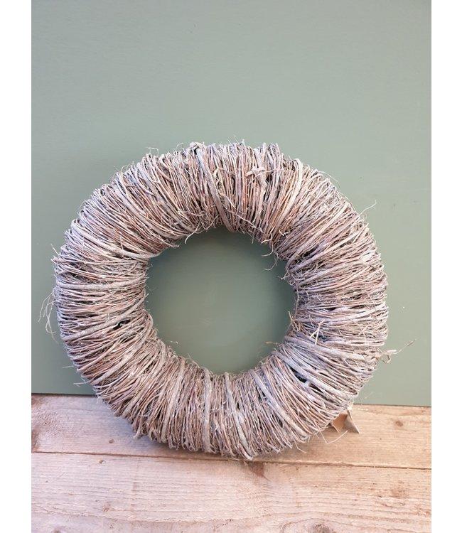*W676 - twig wreath 45 x 10 cm white-wash