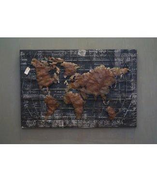NT!!  W923 - Schilderij - Wereld - 120 x 81 x 3,5 cm