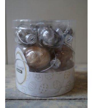 NT!!!  W299 - Doosje met 12 glazen eieren met veer - 2,5 x 5 cm