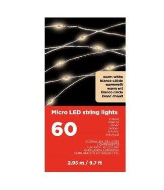 NT!! - Q971 - micro led - zilverdraad 295cm - 60 lampjes warm wit - op batterij