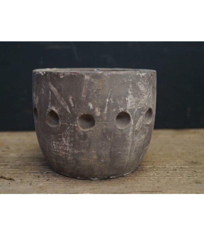 ## A126 - Kandelaar - hout - (per stuk) cement finish - 12 x 12 x 10 cm