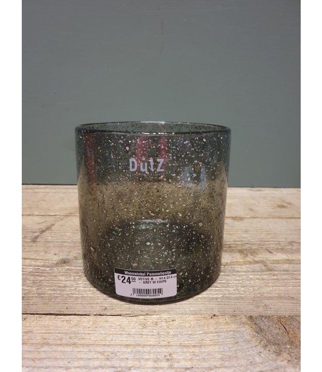 DUTZ # DUTZ - VOTIVE M - H14 D14 cm - GREY W CHIPS