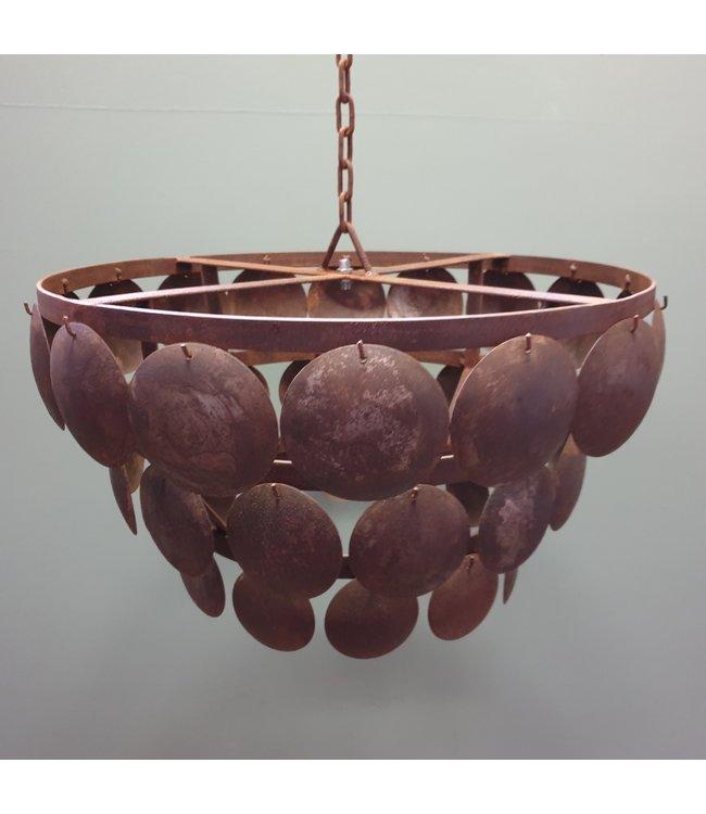 Lampenkap - schijfjeslamp - 60 cm doorsnede - metaal/roest