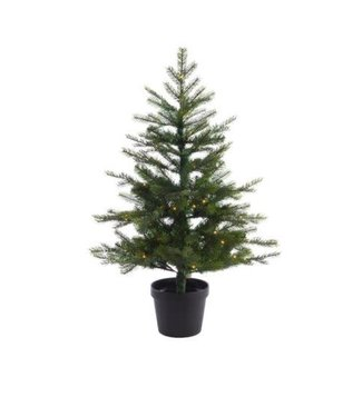 Kerstboom kunst in pot - buiten - met 80 lampjes - 90cm hoog - werkt op batterij