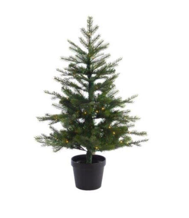 Kerstboom kunst in pot - buiten - met 100 lampjes - 120 cm hoog - werkt op batterij