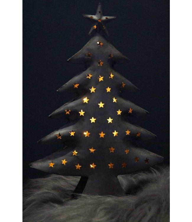 *Q332 - Kerstboom waxinelichthouder - metaal - 14 x 9 x 40 cm