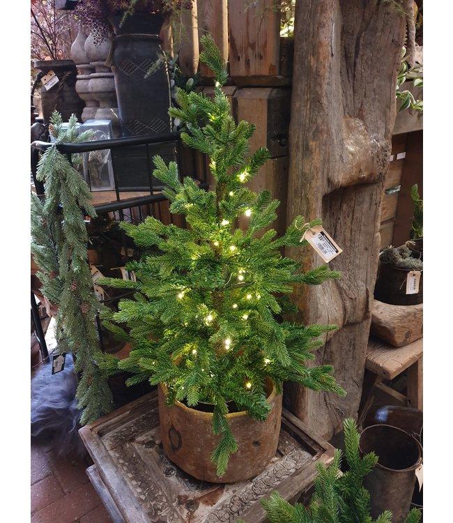 Mini kerstboom met verlichting - werkt op batterij - 75 cm - 50 lampjes
