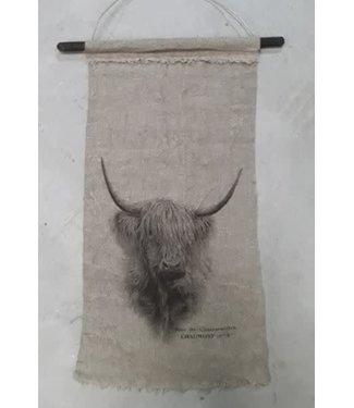 *I452 - Shabby - wanddoek - linnen - schotse hooglander - 45 x 90 cm