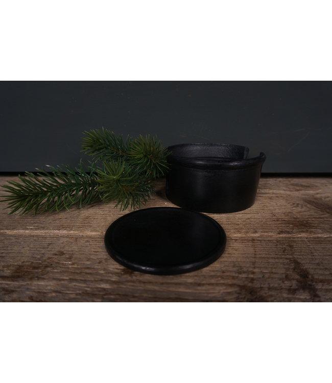 # Onderzetters metaal - 6 in een bakje - antiek zwart - 10 x 10 x 5,5 cm