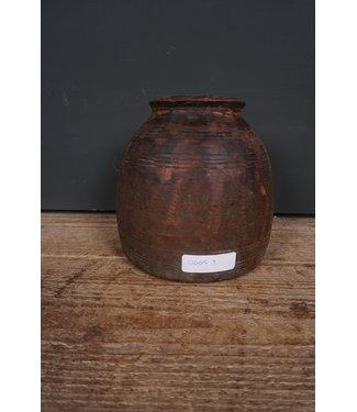 Houten vaas - nepalees - 72 - 17 x 17 x 20 cm