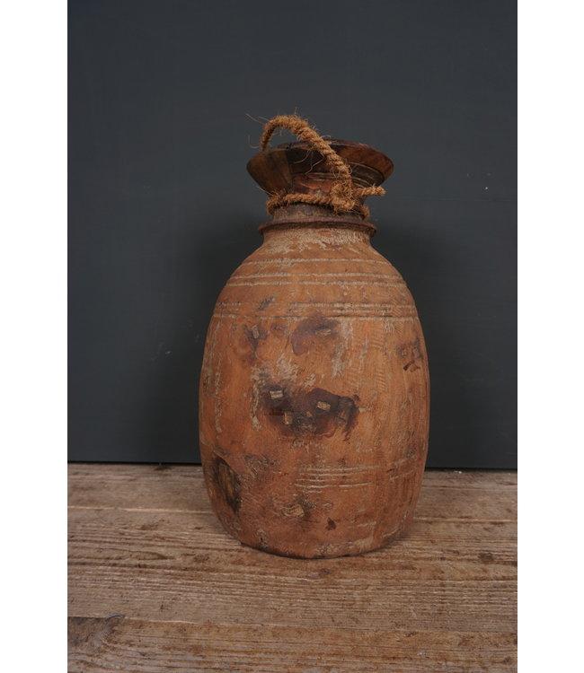 # Houten vaas - nepalees - 73 - 21 x 21 x 43 cm