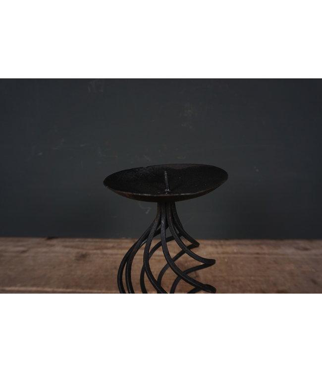 # Metalen kandelaar - zwart - 12 x 12 x 21 cm