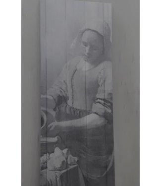 A064 - melkmeisje deco bord 20 x 55 cm - lichte beschadiging aan de bovenkant