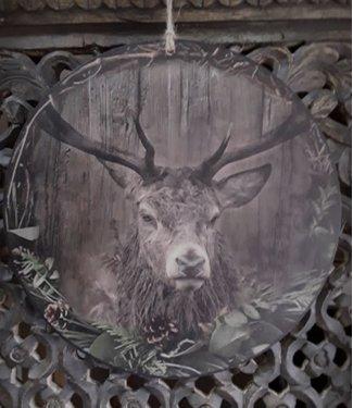 *Cirkel kerst hert - Mdf cirkel van 30 cm rond,  bedrukt met afbeelding hert in sobere kleurstelling.  voorzien van ophanglusje