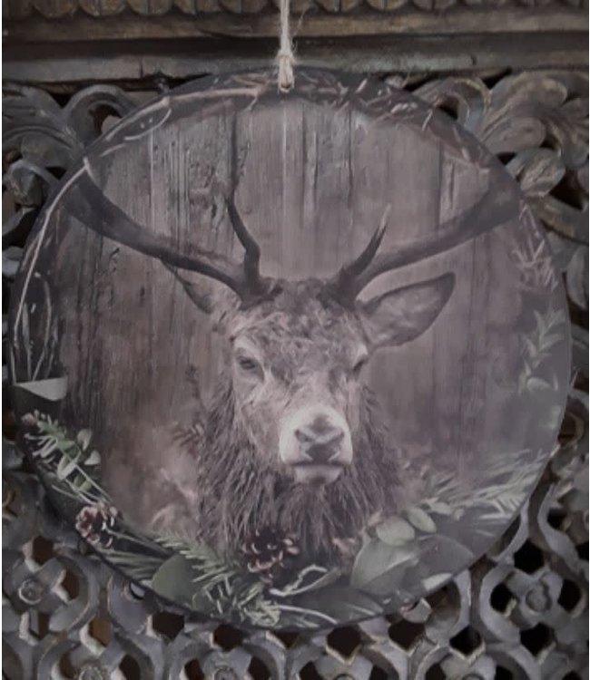 # Cirkel kerst hert - Mdf cirkel van 30 cm rond,  bedrukt met afbeelding hert in sobere kleurstelling.  voorzien van ophanglusje