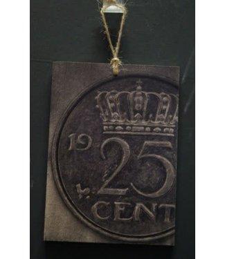 *I445 - Bordje - kwartje - hout aan touw - 15 x 1 x 21 cm