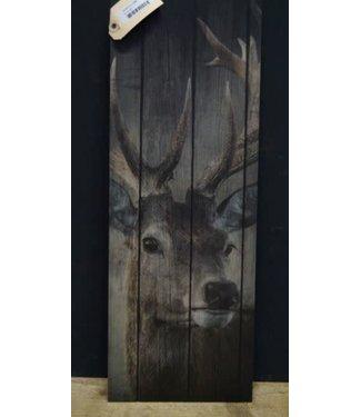 *J296 - afbeelding hert op hout - 20 x 55 cm