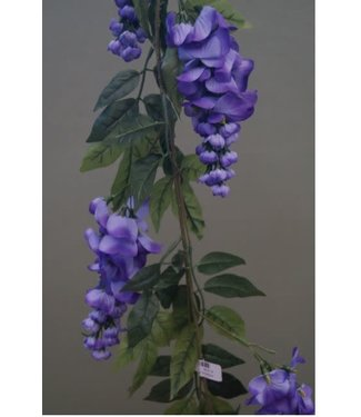 # J757 - Blauwe regen - kunst - 13 x 27 x 150 cm met 8 bloemen